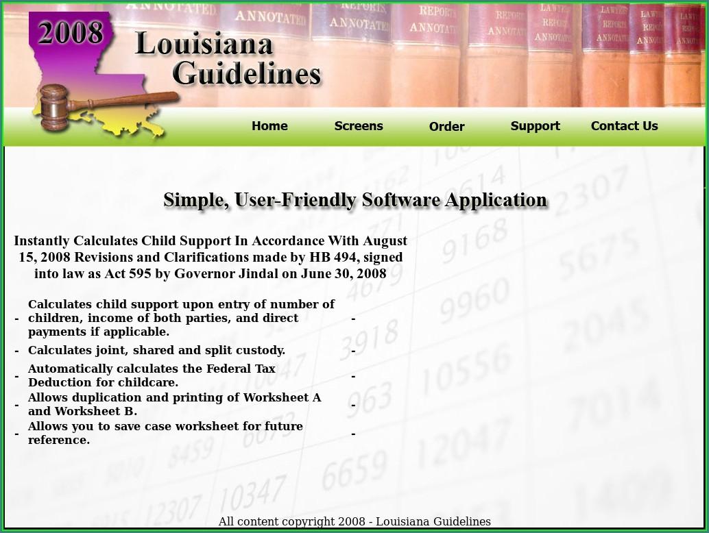 Child Support Worksheet B Louisiana