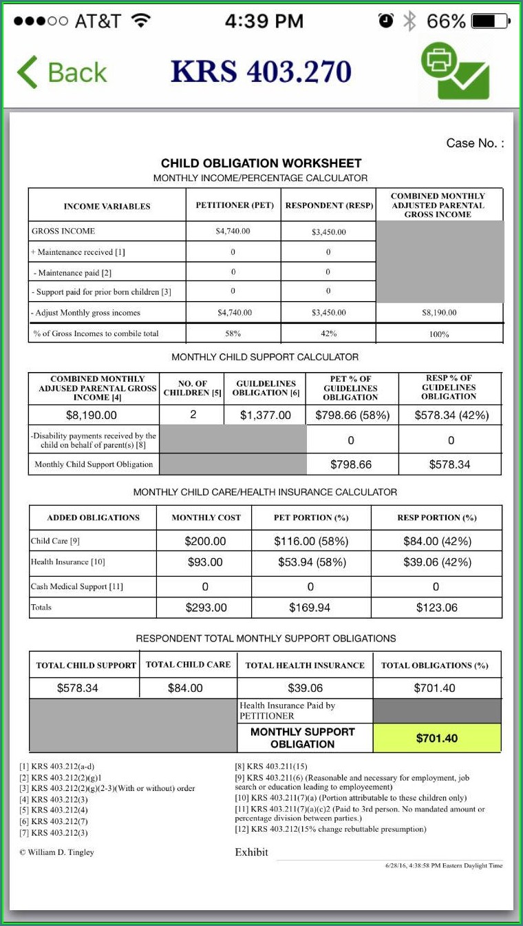 Child Support Worksheet Ky