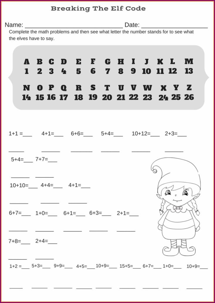 Christmas Math Code Worksheet