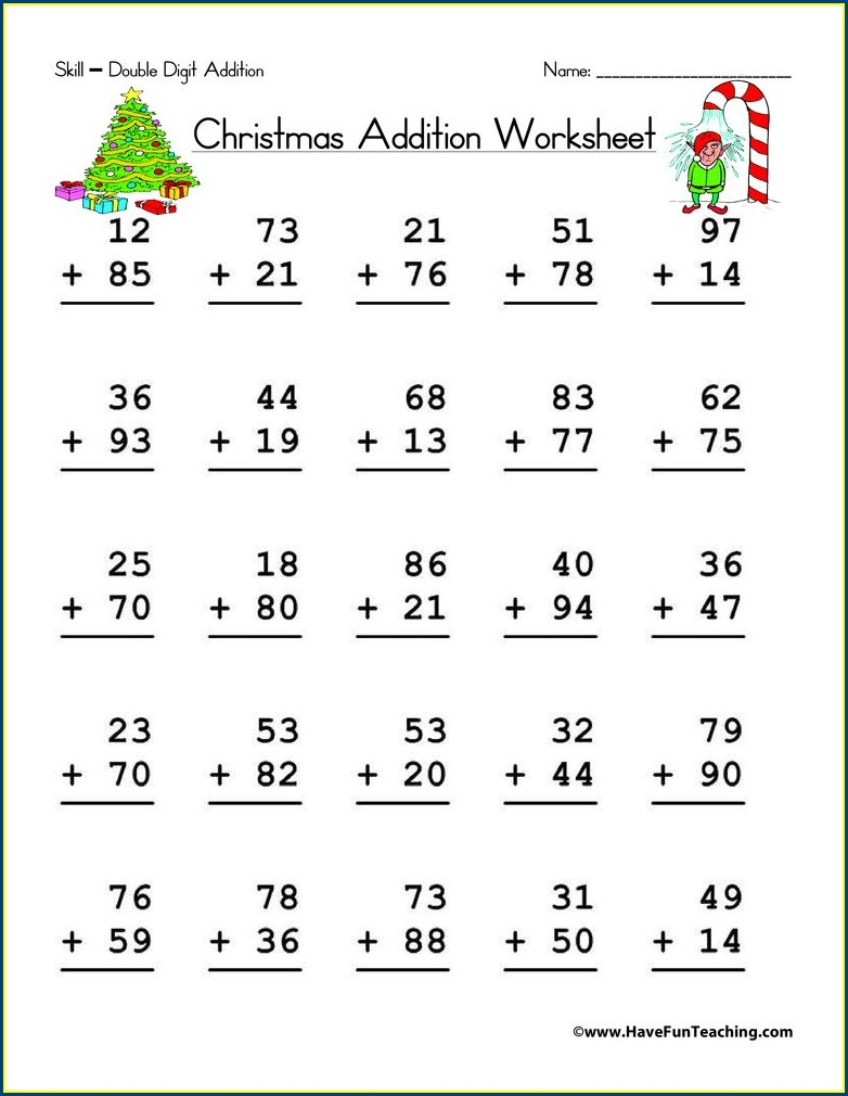 Christmas Math Worksheets Double Digit Addition