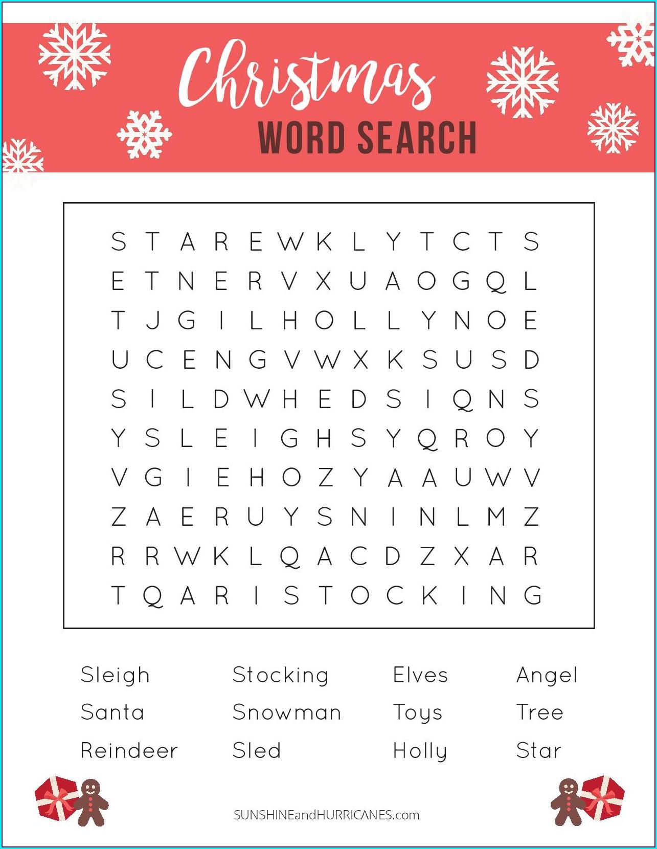 Christmas Word Search Printable