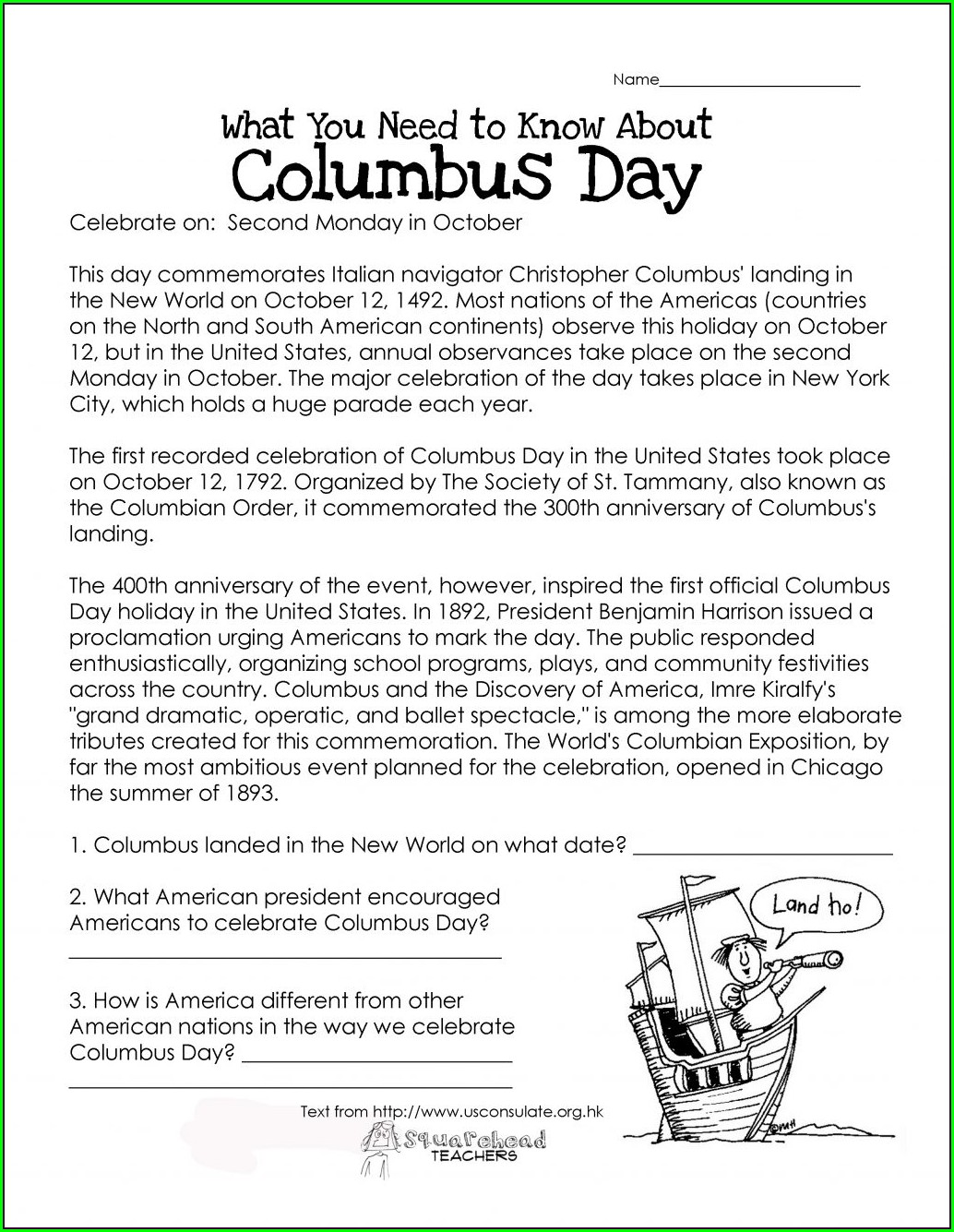 Christopher Columbus Printables For Kindergarten