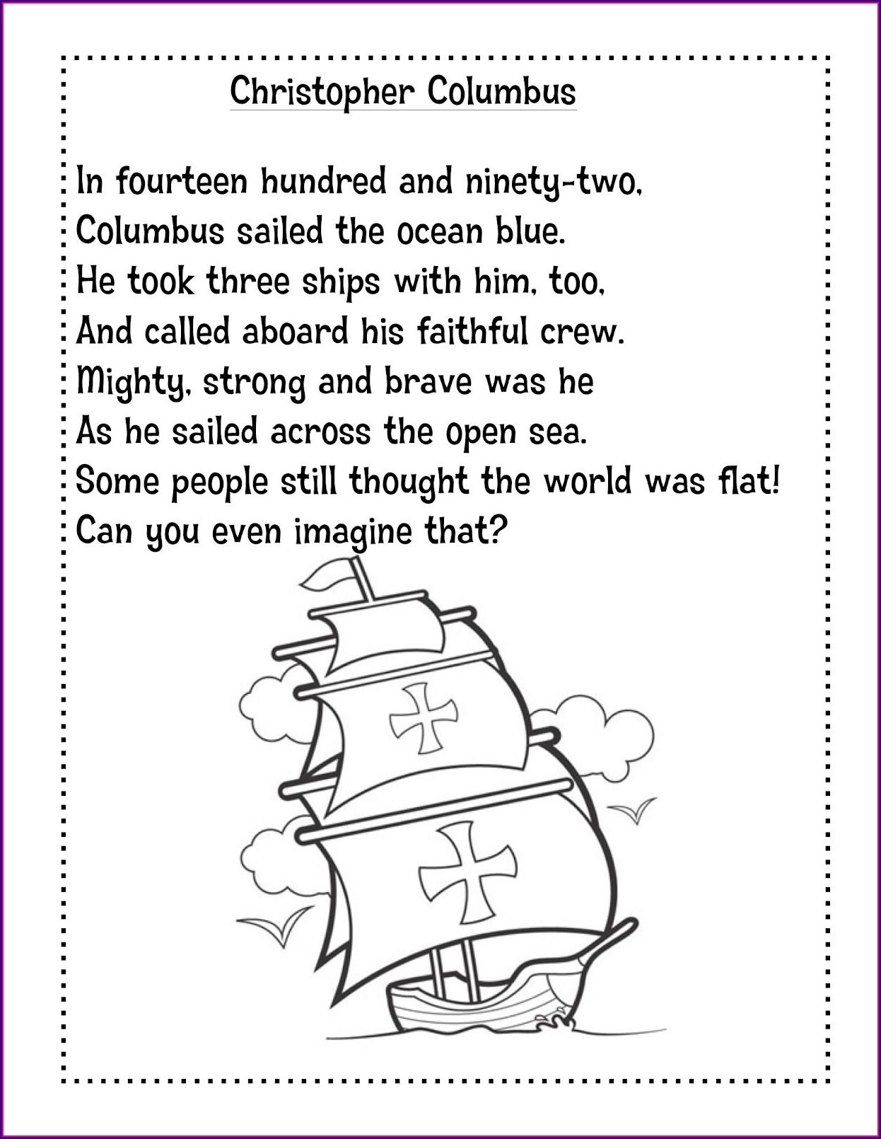 Christopher Columbus Worksheet 1st Grade