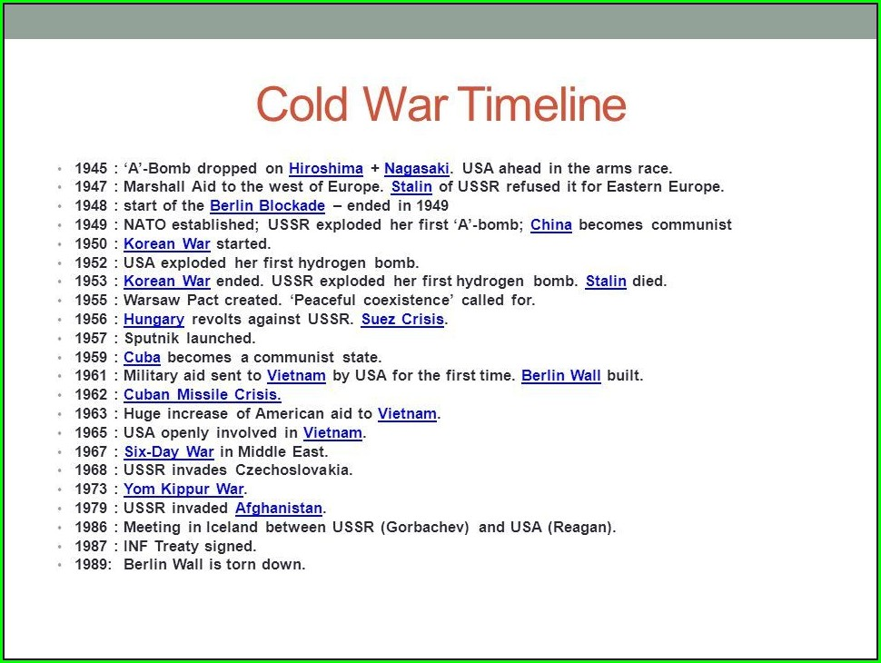 Cold War Overview And Timeline Worksheet Answers