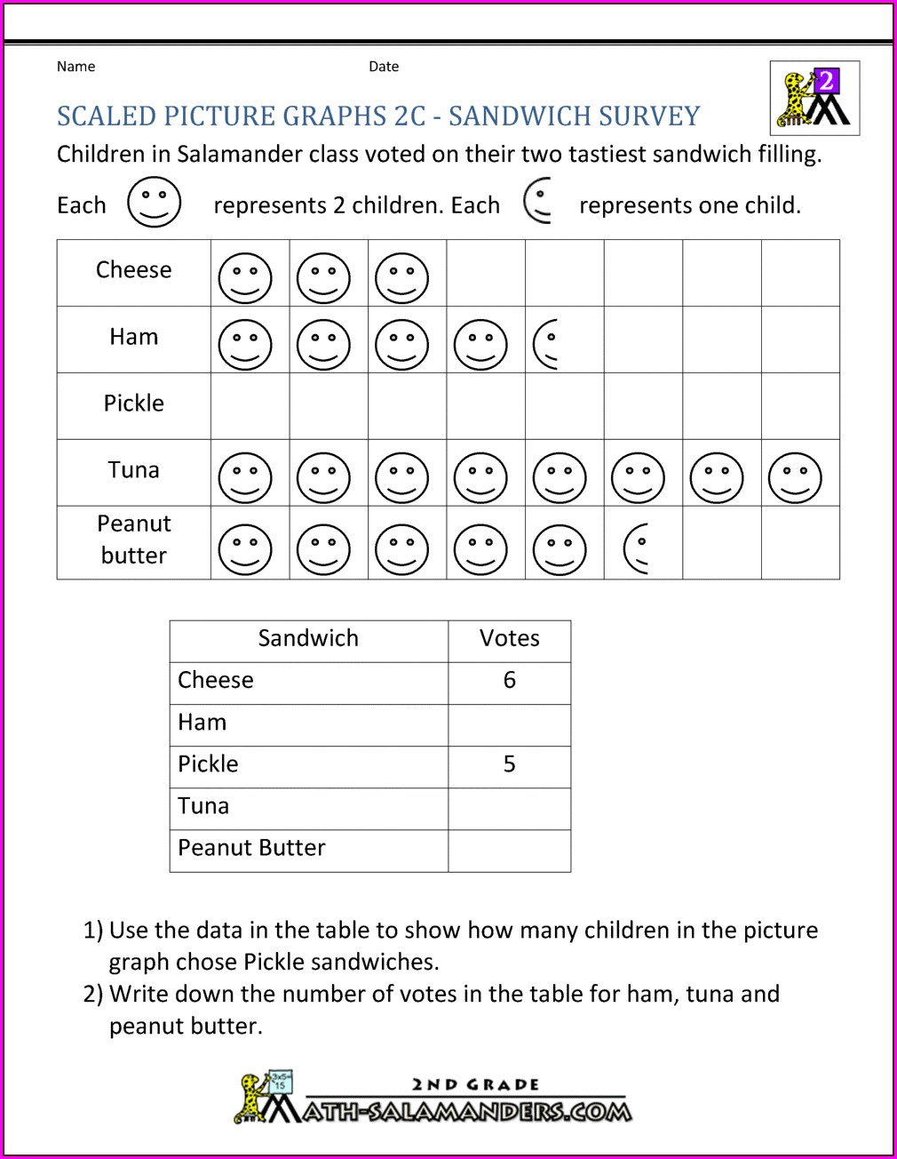 Collecting Data Worksheets 2nd Grade