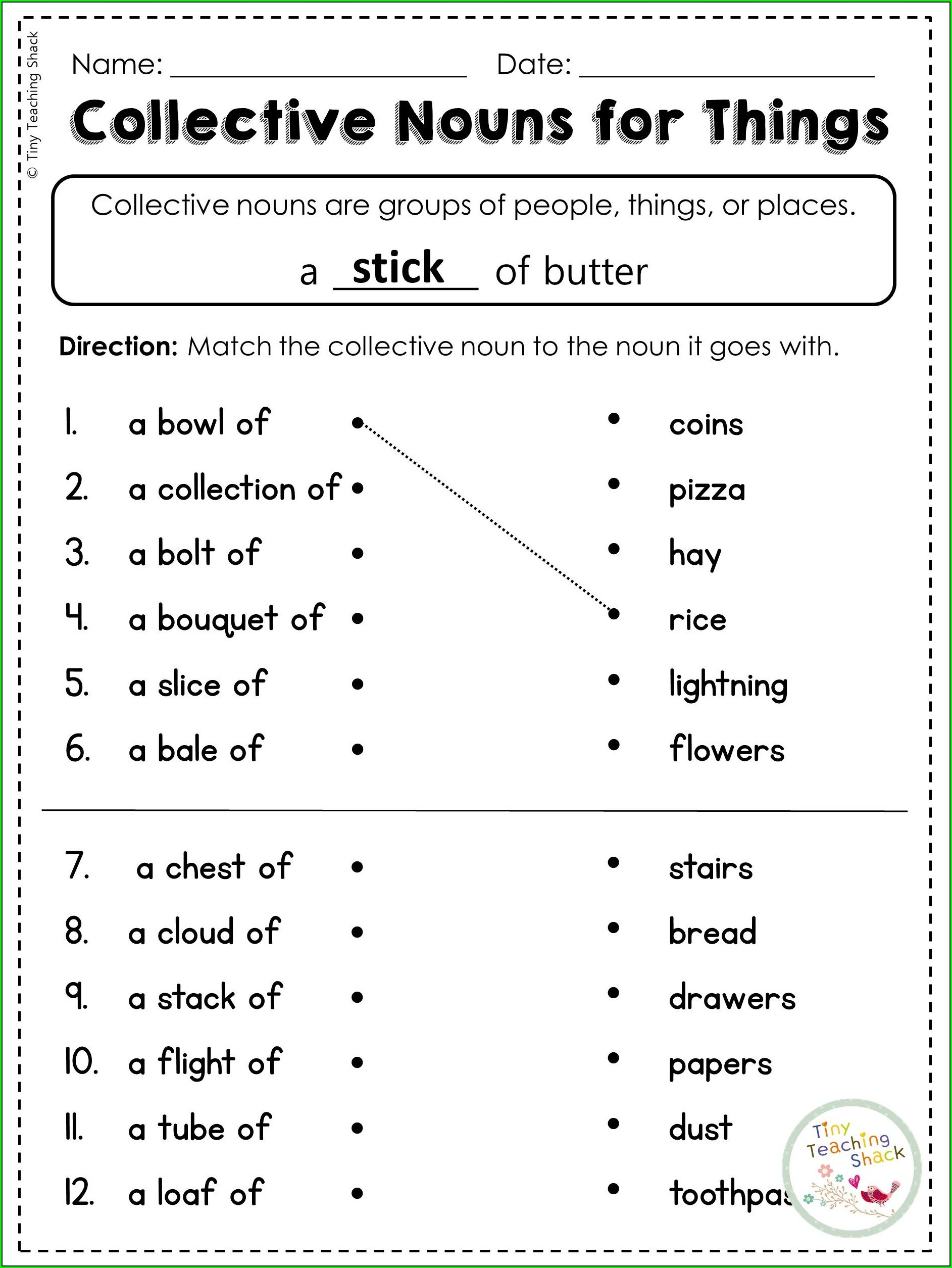 Collective Nouns Worksheet Second Grade