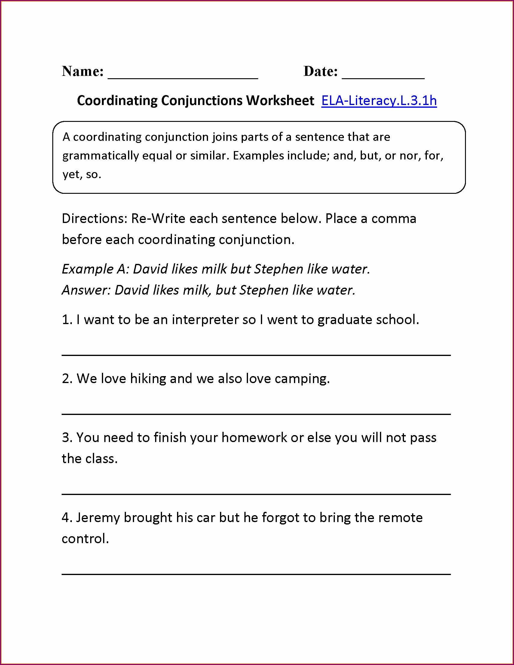 Commas In Addresses Worksheets 3rd Grade
