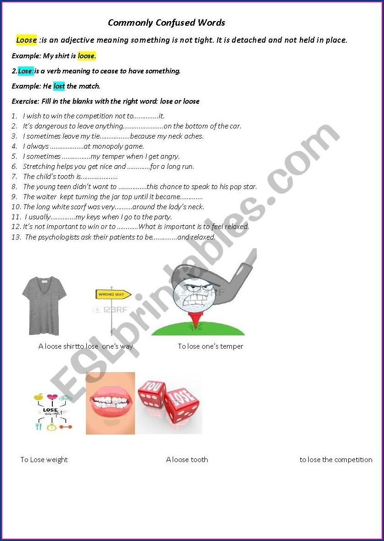 Commonly Confused Words Worksheet Esl