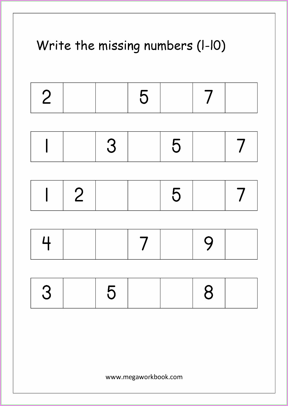 Compare Numbers To 10 Worksheet