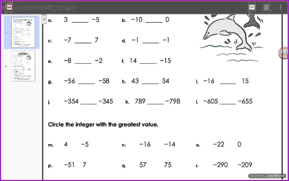 Comparing Integers Worksheet Grade 6