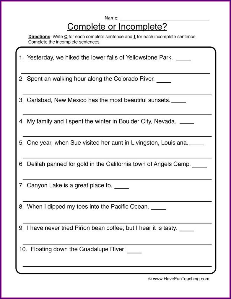 Complete Sentences Worksheet For 3rd Grade