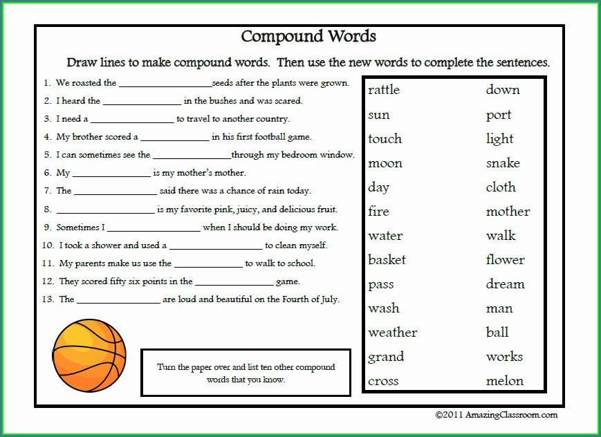 Compound Words Worksheet For 4th Grade