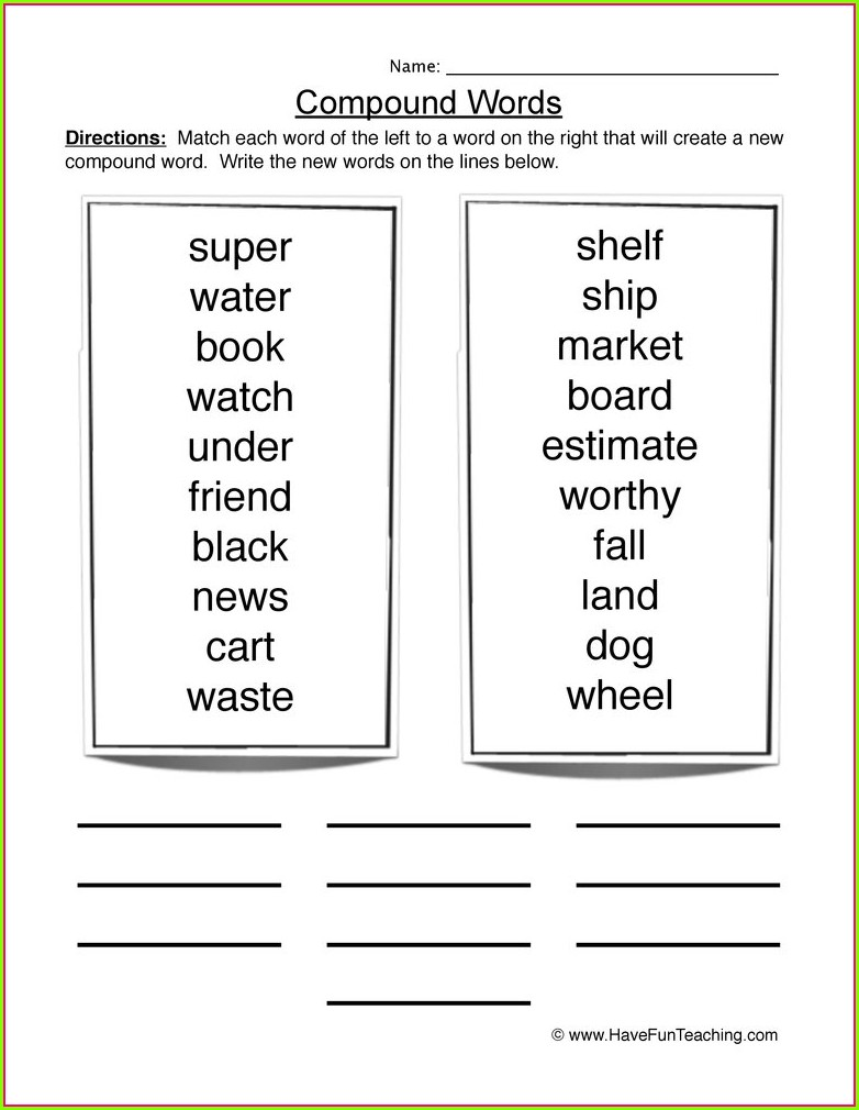 Compound Words Worksheet Grade 2 Pdf