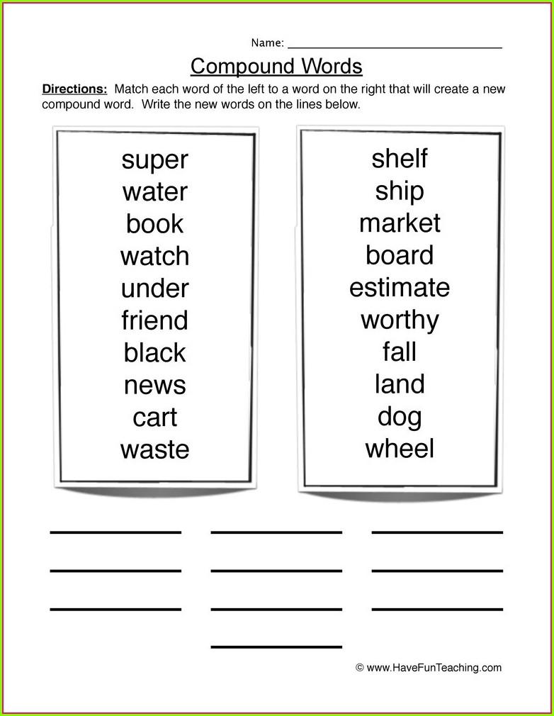 Compound Words Worksheet Grade 2 Pdf