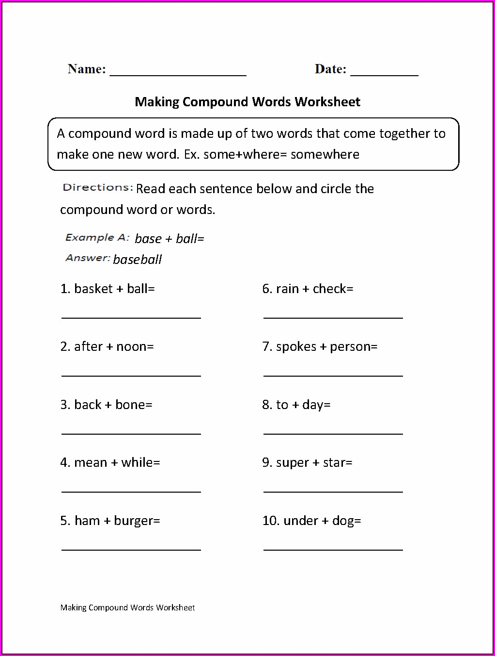 Compound Words Worksheet Grade 4 Pdf