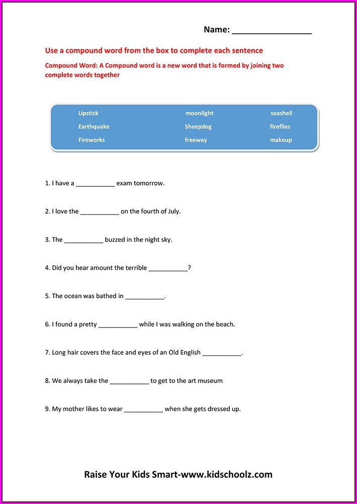 Compound Words Worksheet Grade 4