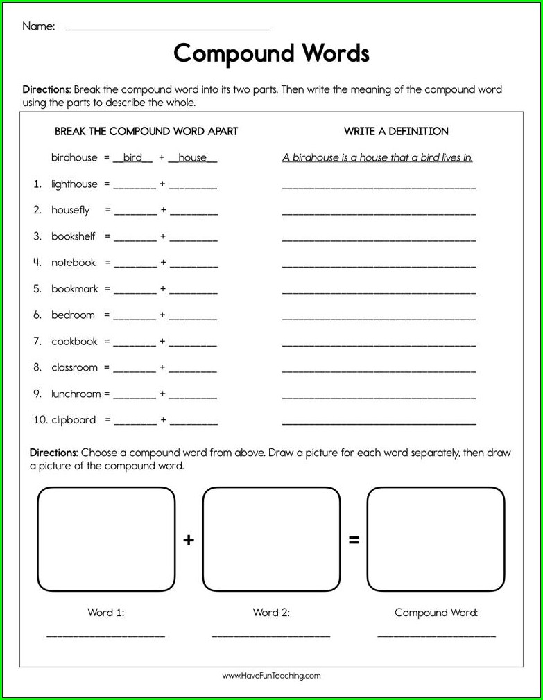 Compound Words Worksheet Have Fun Teaching
