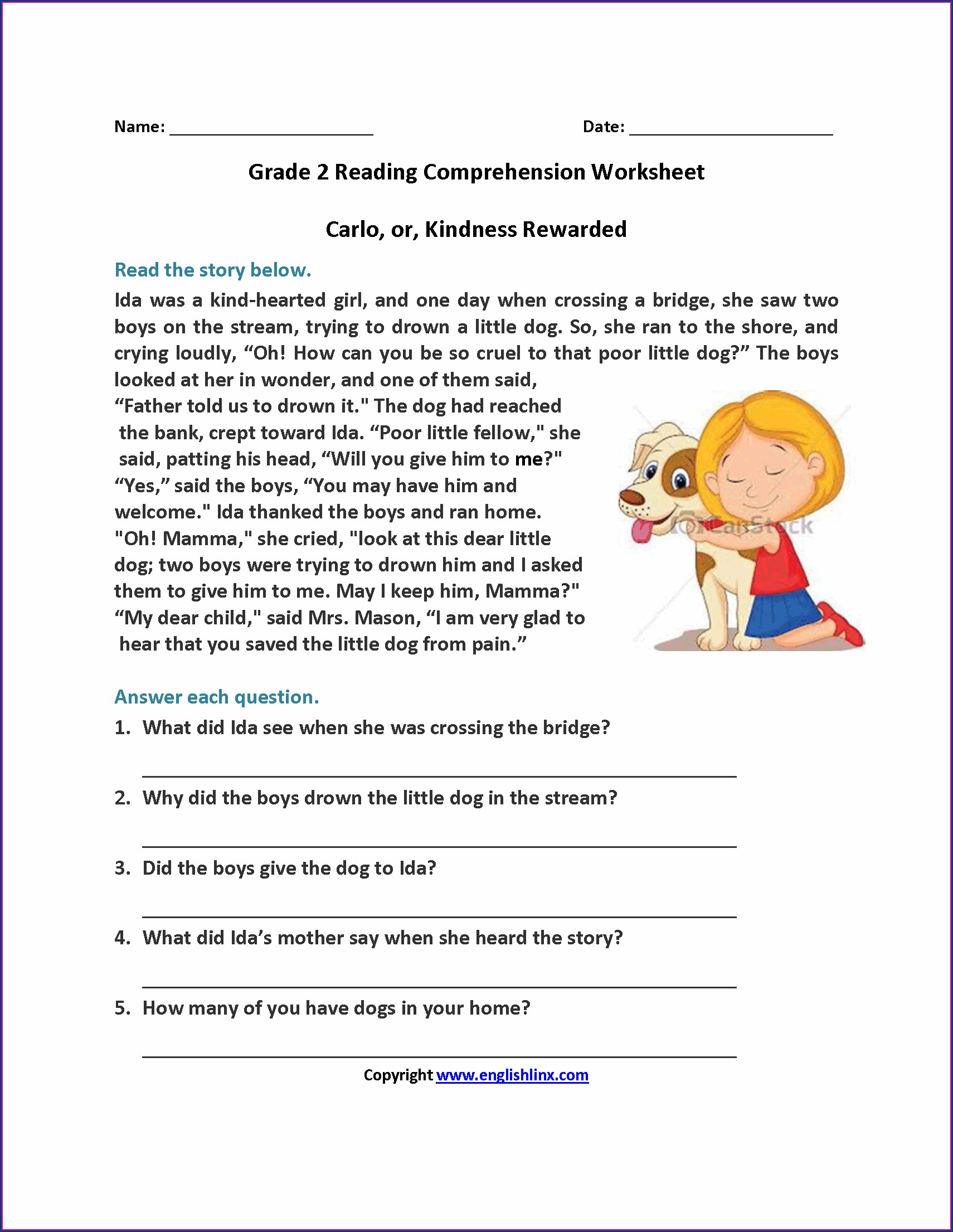Comprehension For Grade 2 English Worksheet Pdf