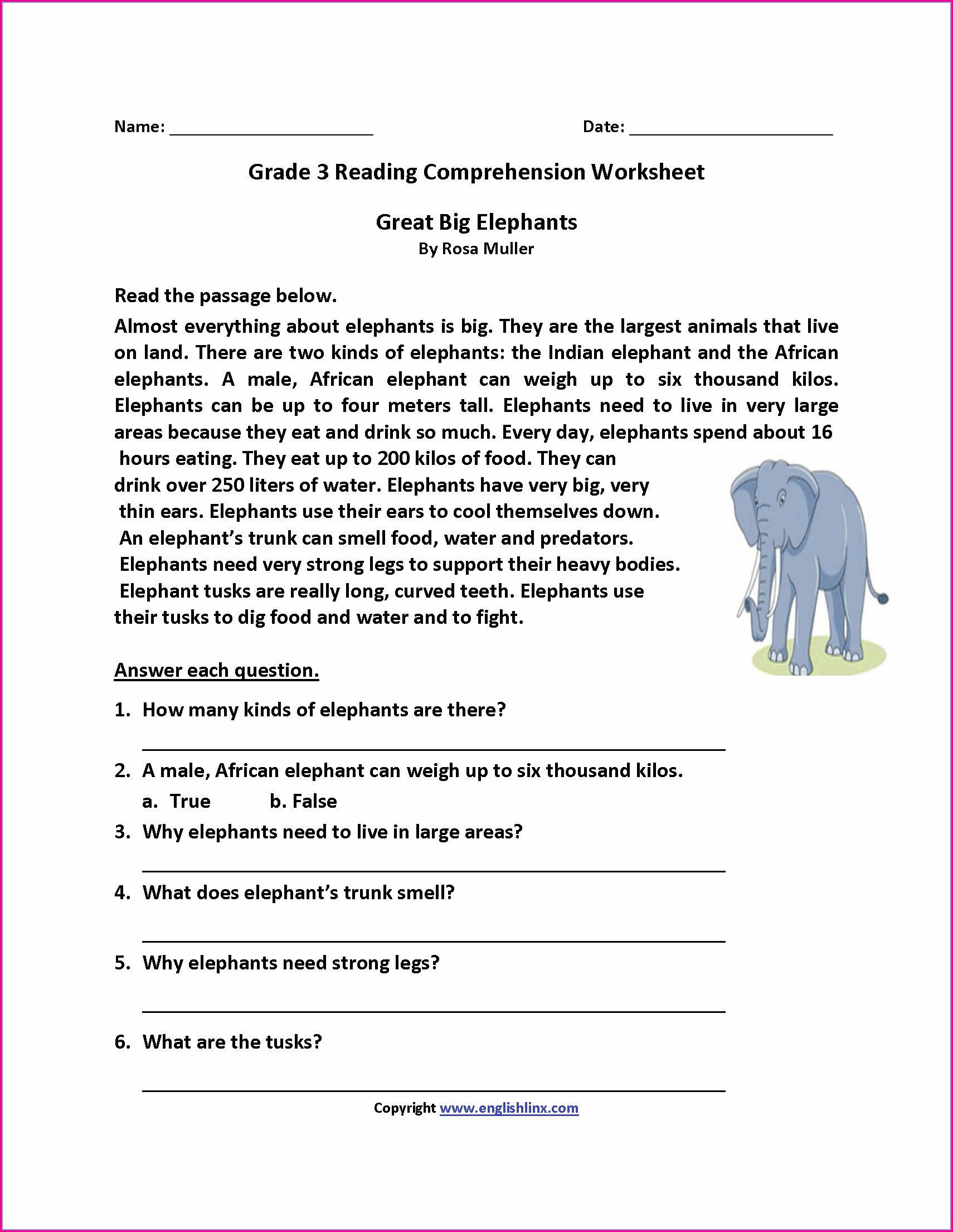 Comprehension Passages With Questions And Answers Pdf For Grade 3