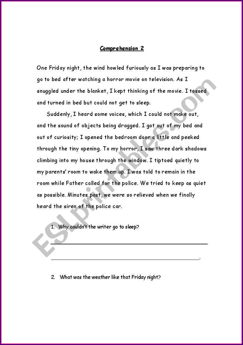 Comprehension Passages With Questions For Grade 1