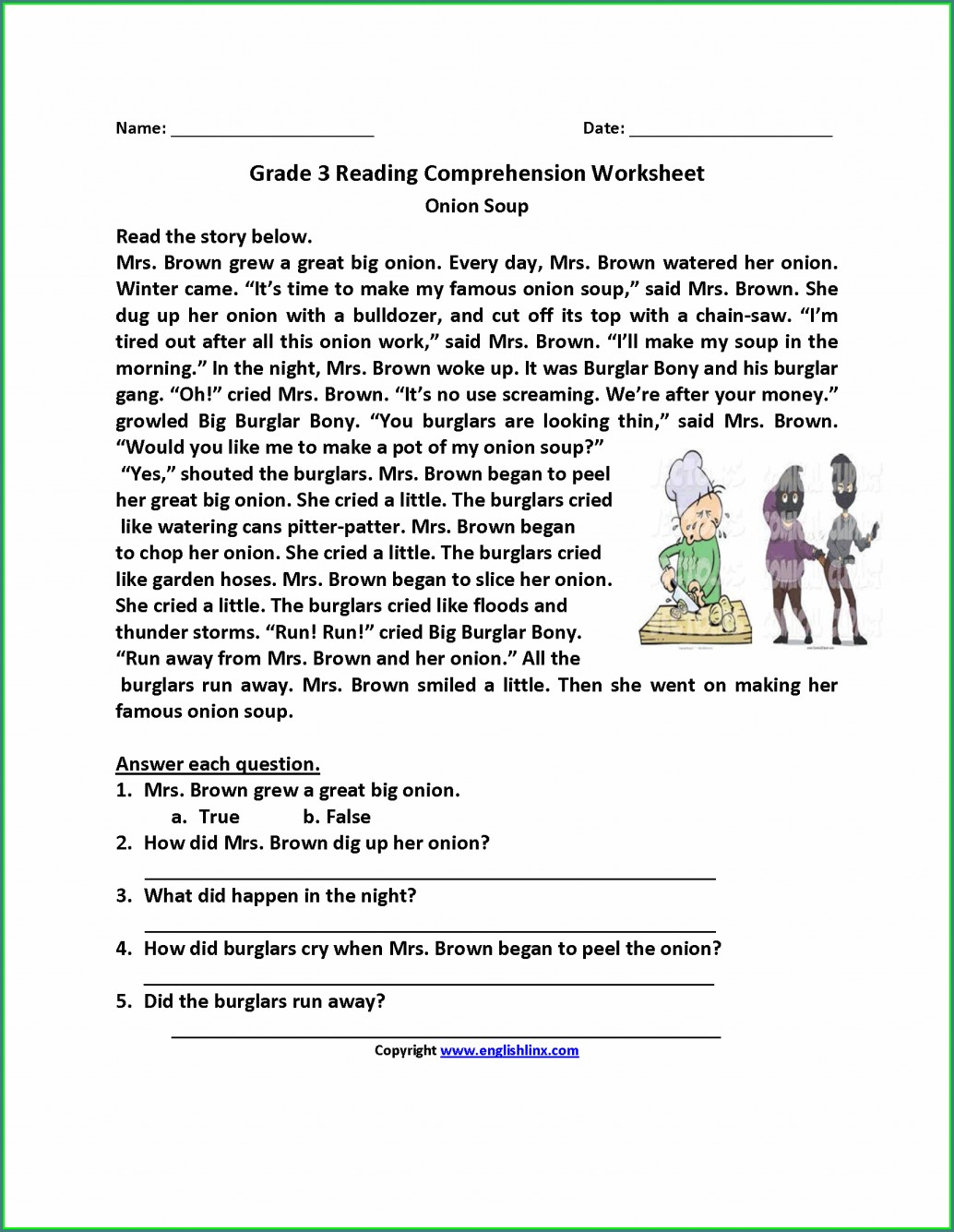 Comprehension Worksheet 3rd Grade