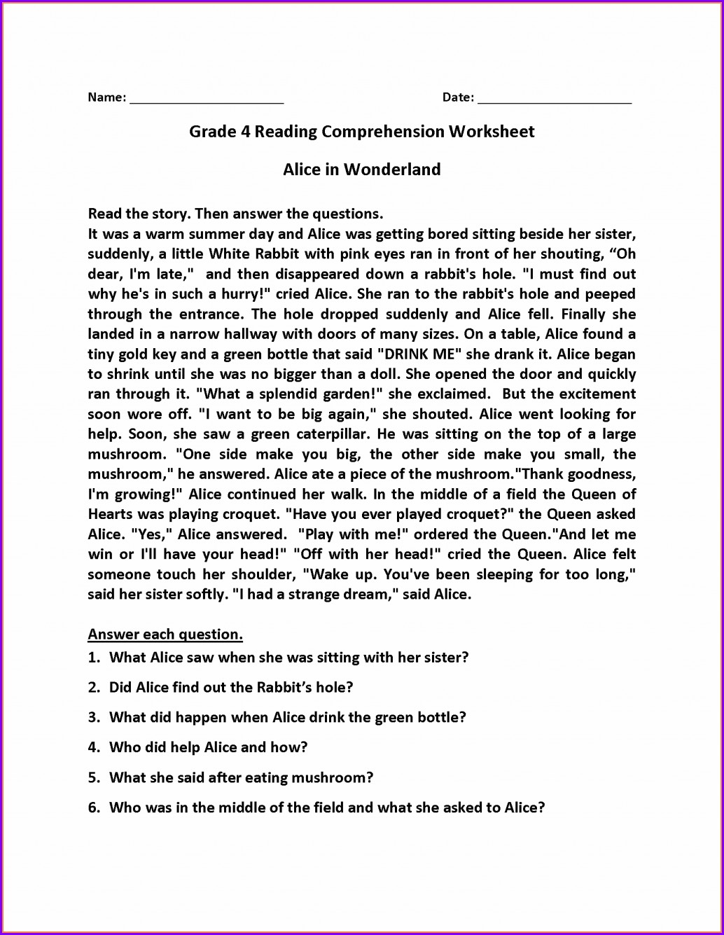 Comprehension Worksheet For 4th Grade