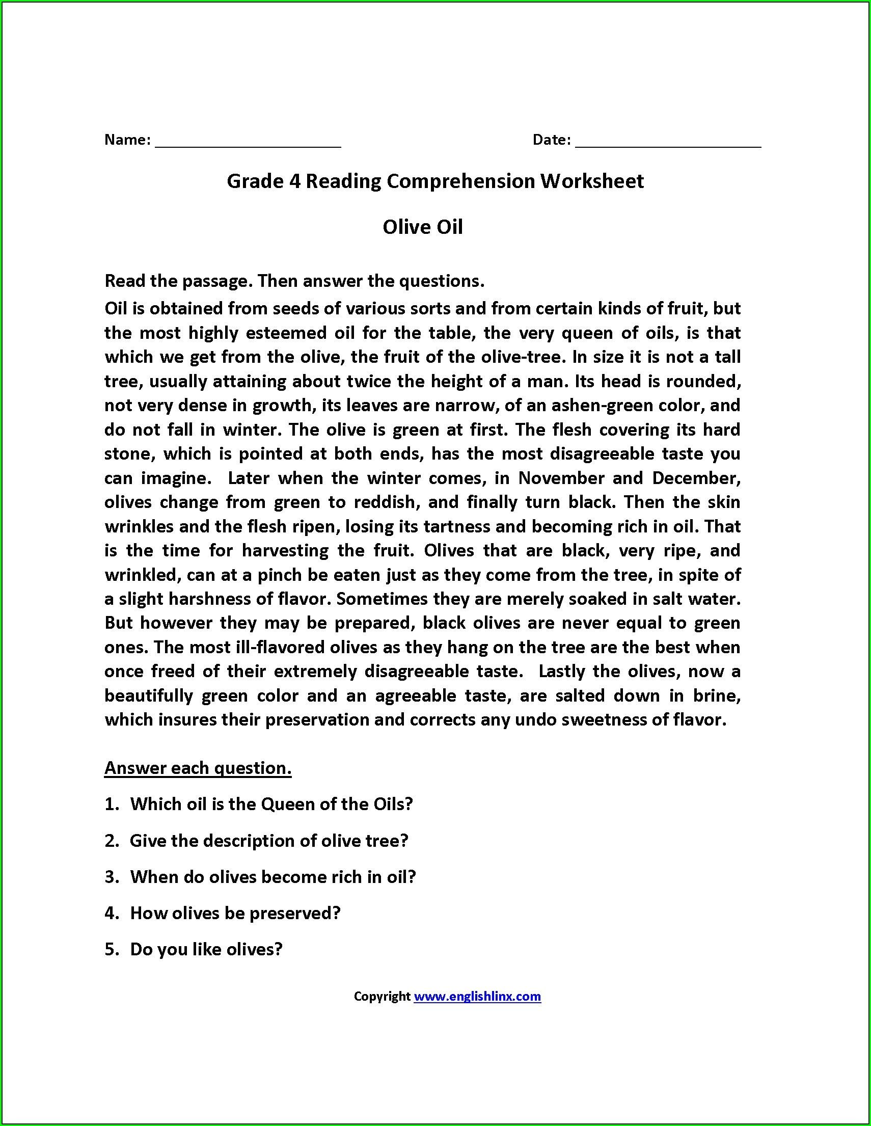 Comprehension Worksheet For Grade 5