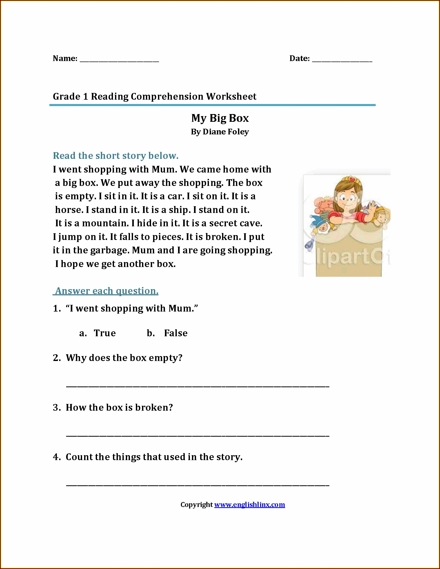 First Grade Listening Comprehension Worksheet Worksheet