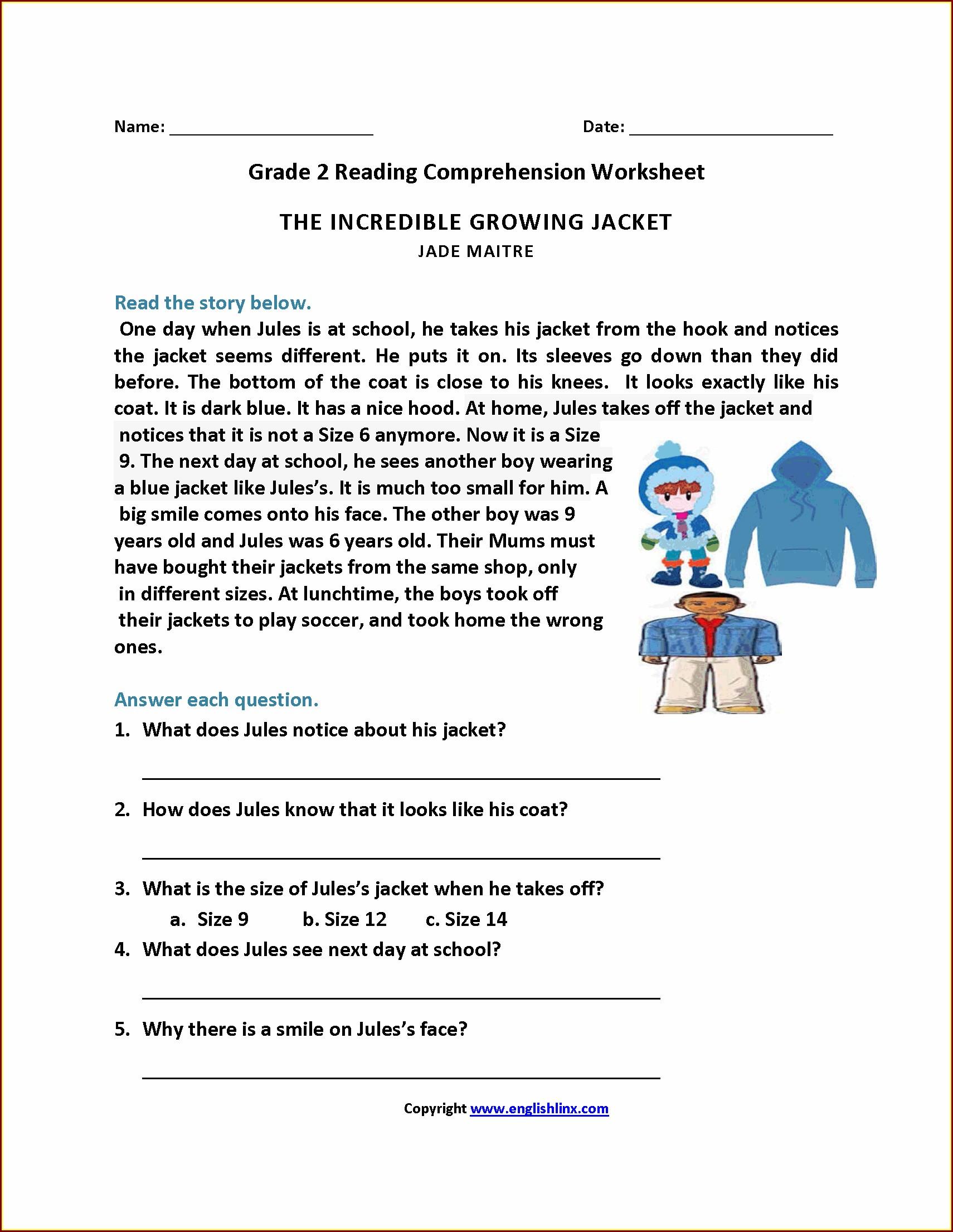 Comprehension Worksheet Grade 2