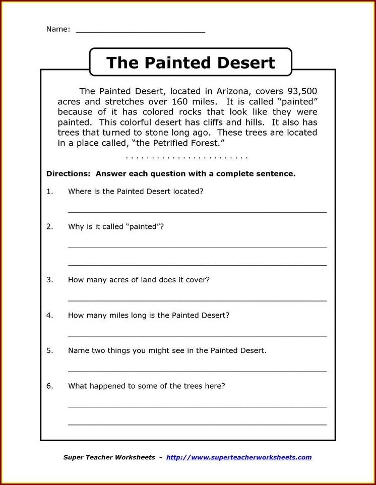 Comprehension Worksheet Grade 3
