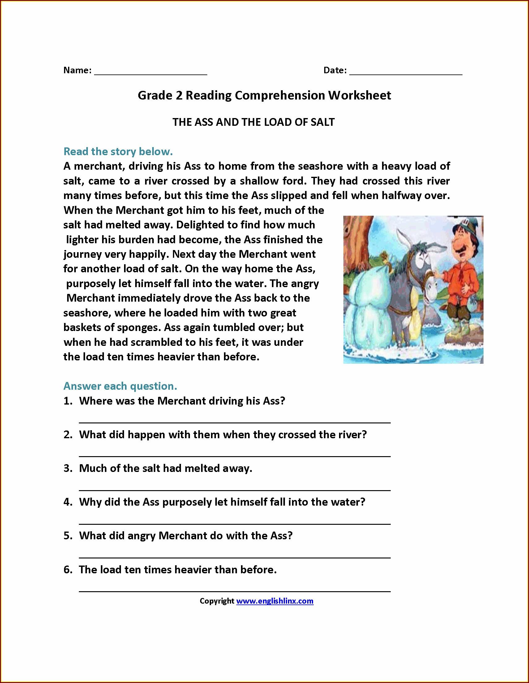 Comprehension Worksheet Grade 6 Pdf
