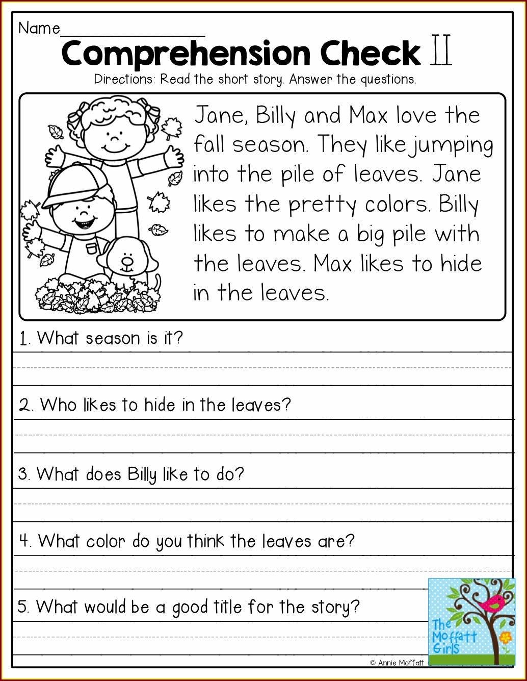 Comprehension Worksheet Year 1
