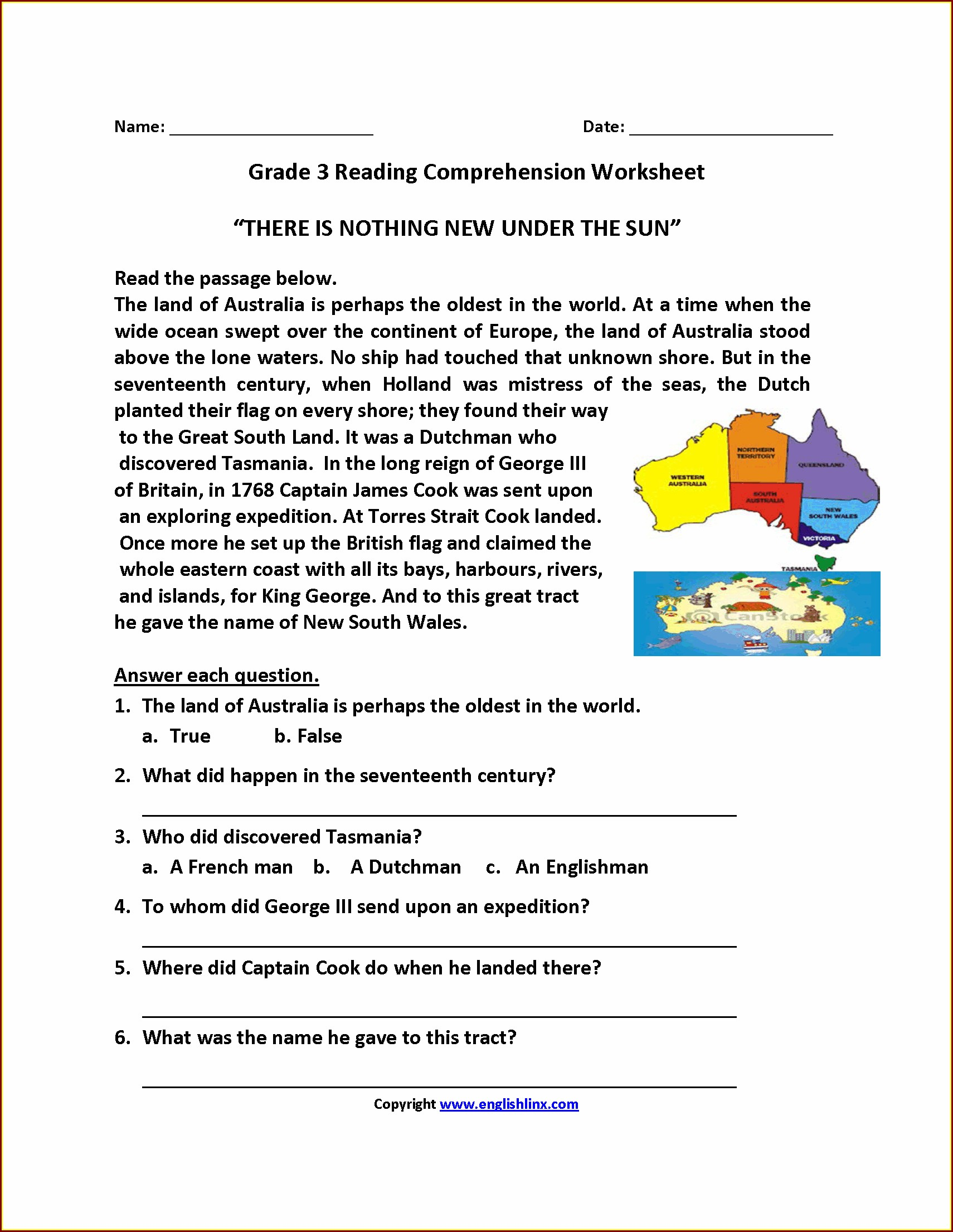 Comprehension Worksheet Year 3