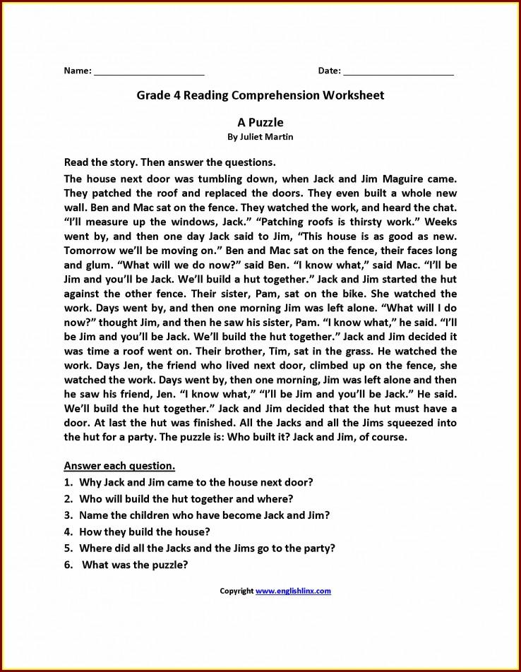 Comprehension Worksheet Year 4