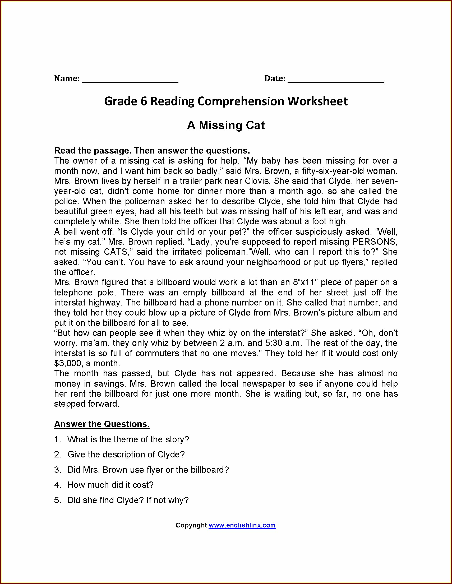 Comprehension Worksheet Year 6