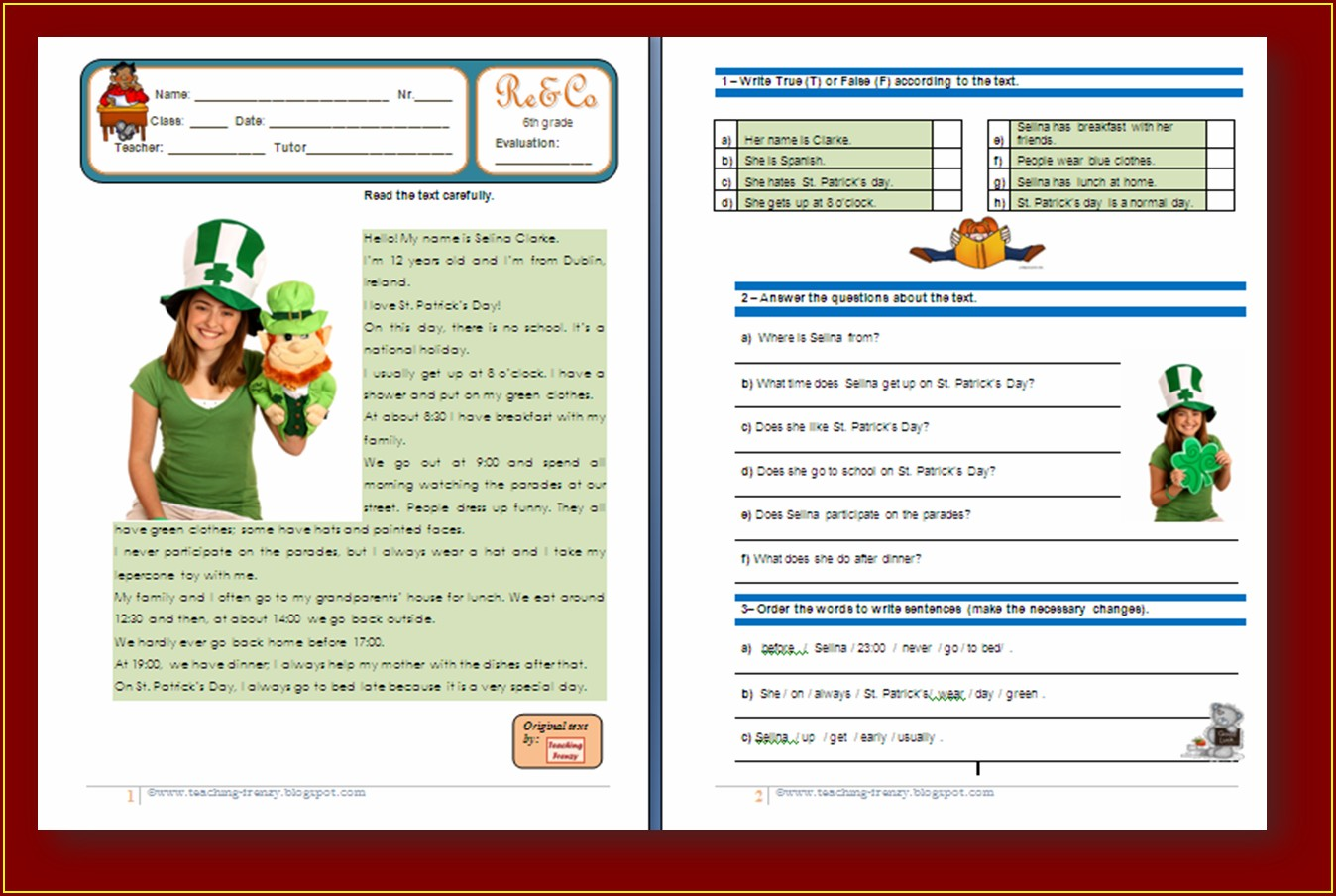 Comprehension Worksheet Year 9