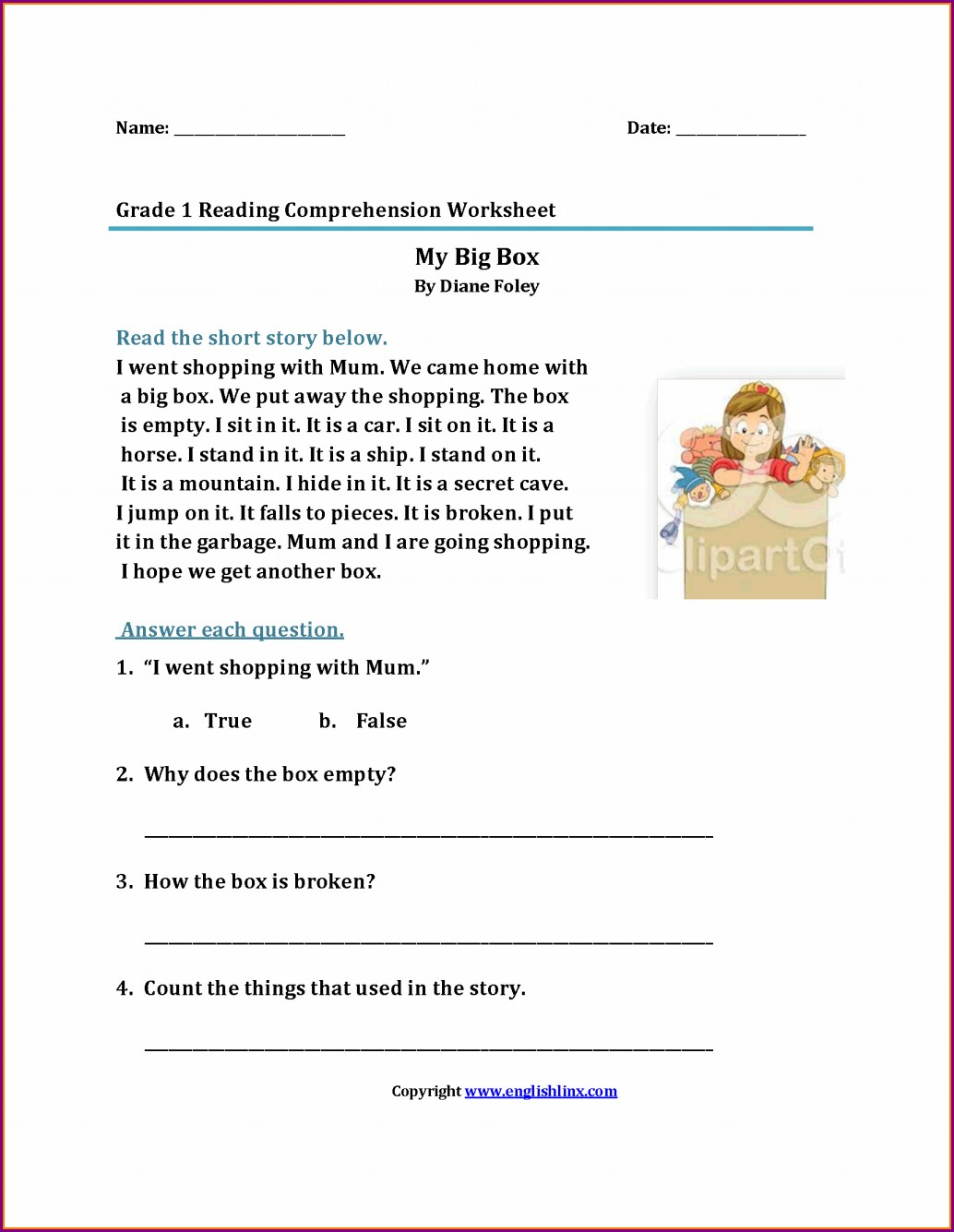 Comprehension Worksheets For Grade 1 Pdf