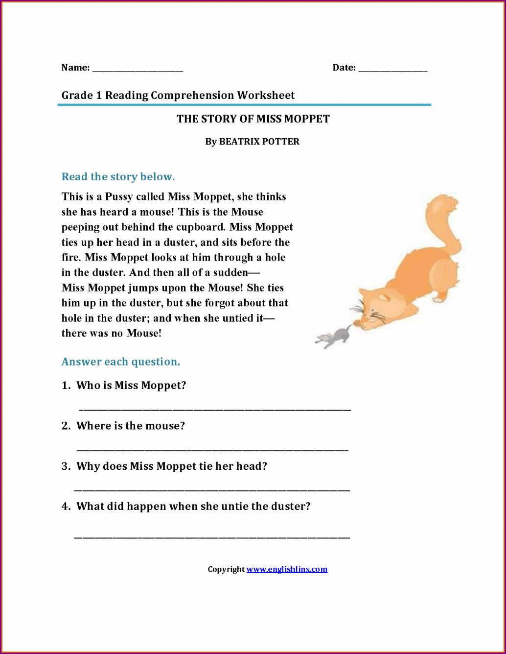 Comprehension Worksheets For Grade 1 With Questions And Answers