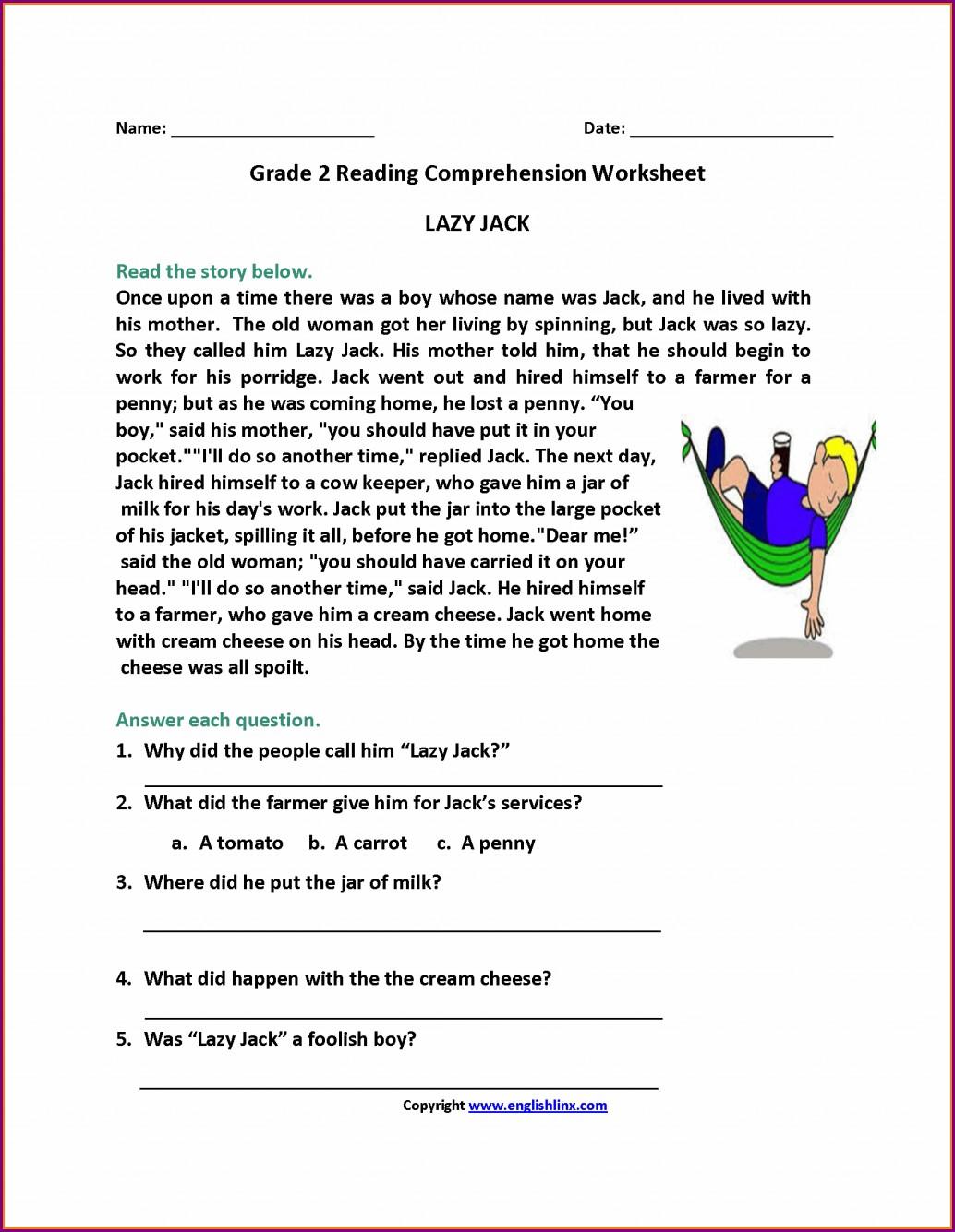 Comprehension Worksheets For Grade 2 Printable