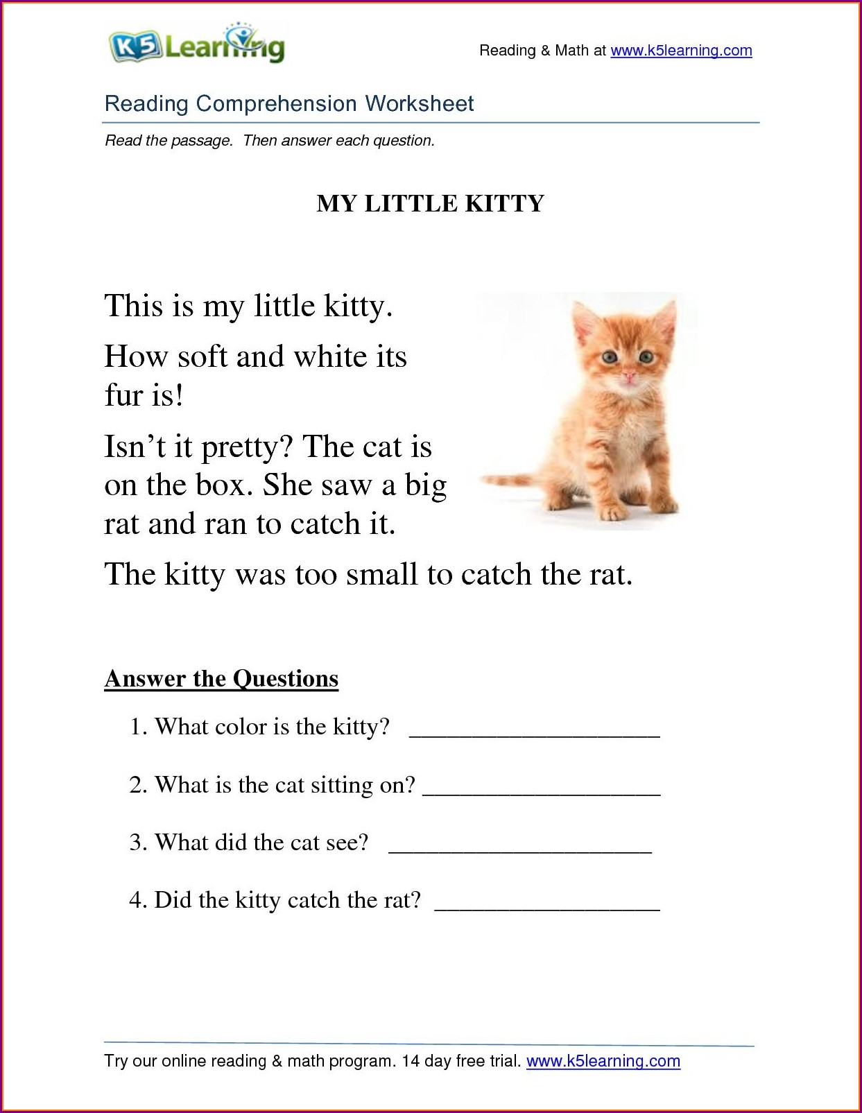 Comprehension Worksheets For Grade 3 English