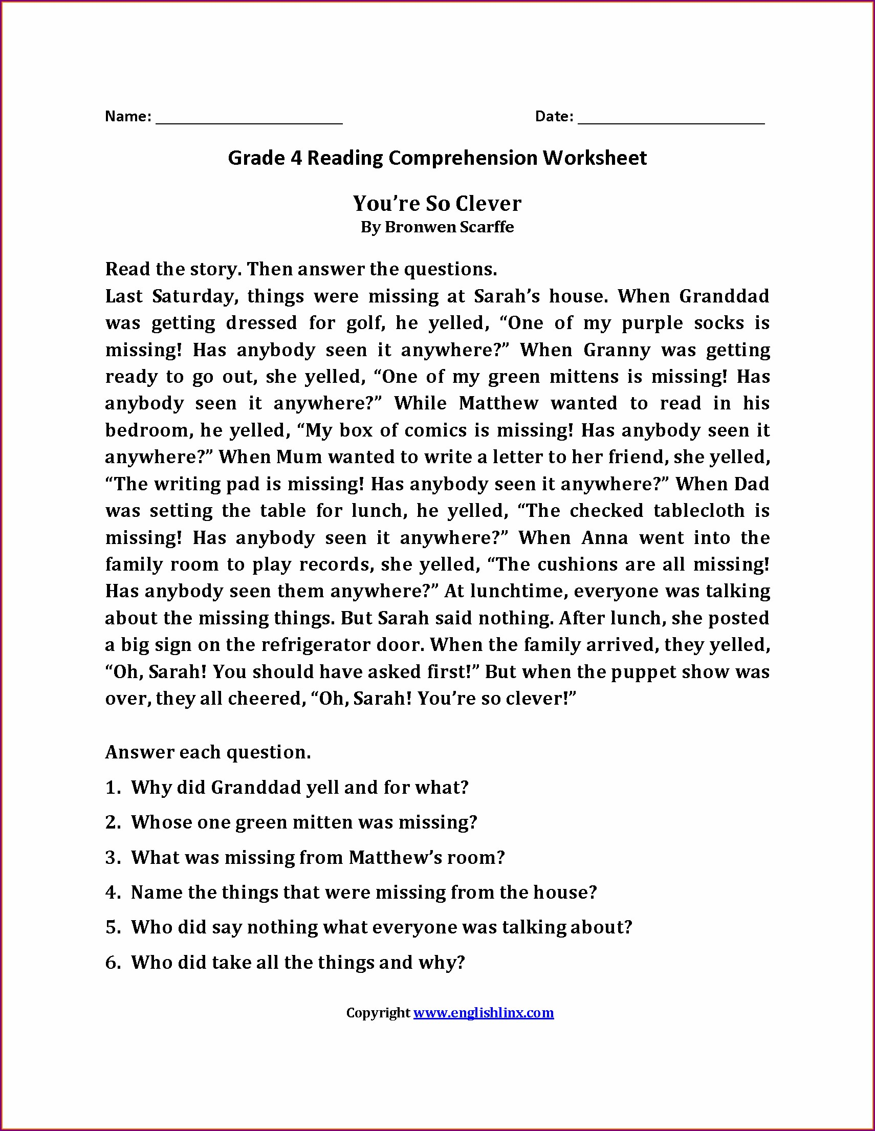 Comprehension Worksheets For Grade 3 With Answers