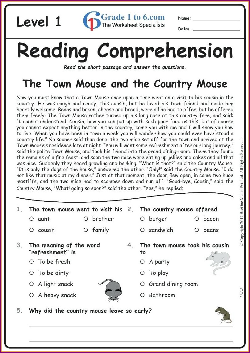 Comprehension Worksheets For Grade 6 With Questions And Answers