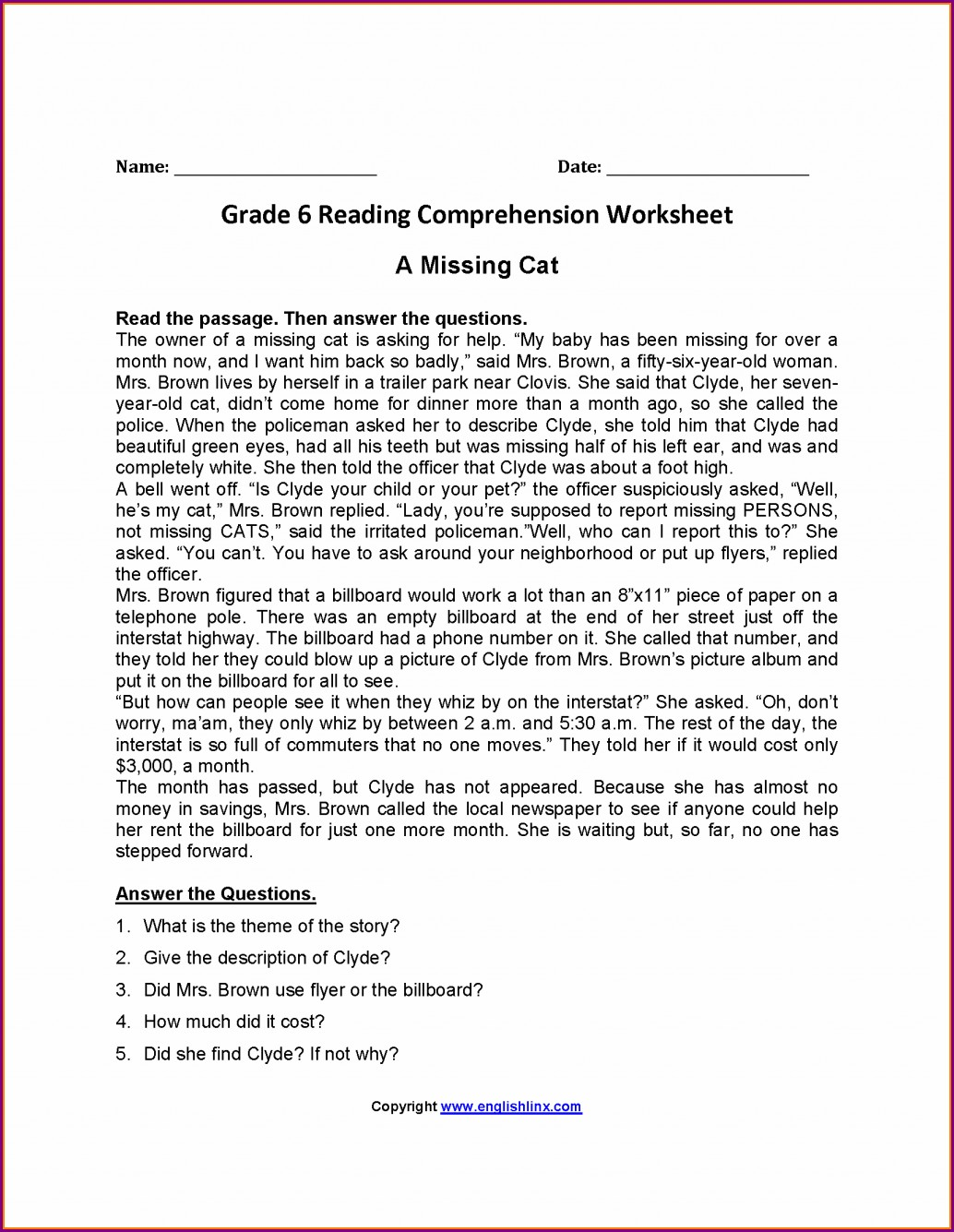 Comprehension Worksheets For Grade 6