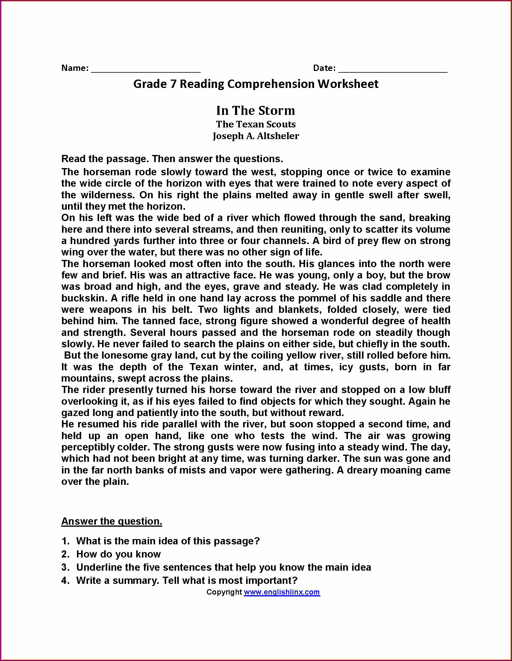 Comprehension Worksheets For Grade 7 With Answers