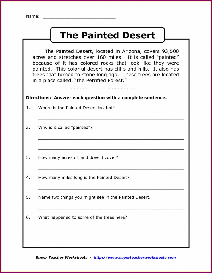 Comprehension Worksheets For Grade 8 With Answers
