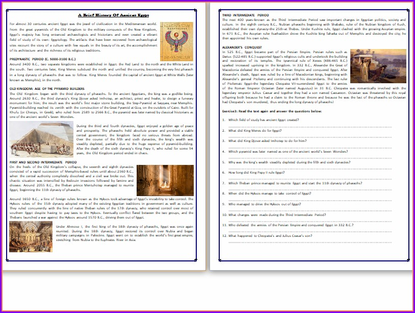 Comprehension Worksheets On History