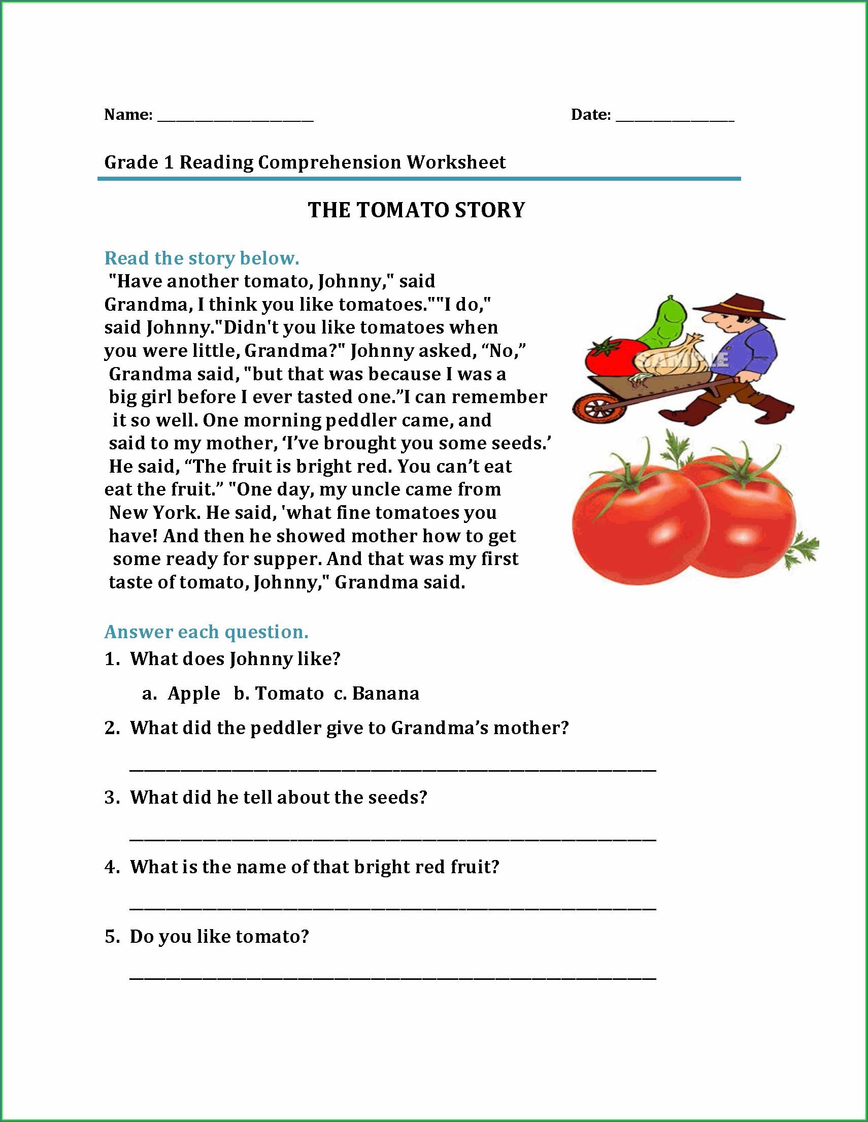 Comprehension Worksheets On Nutrition
