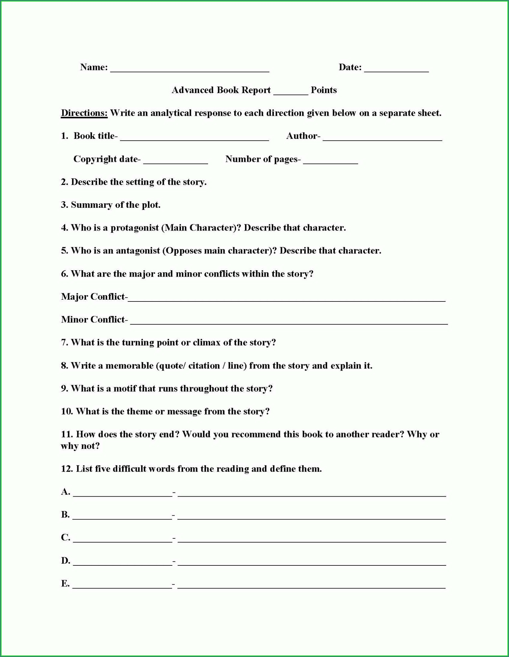 Comprehension Worksheets With Multiple Choice Questions
