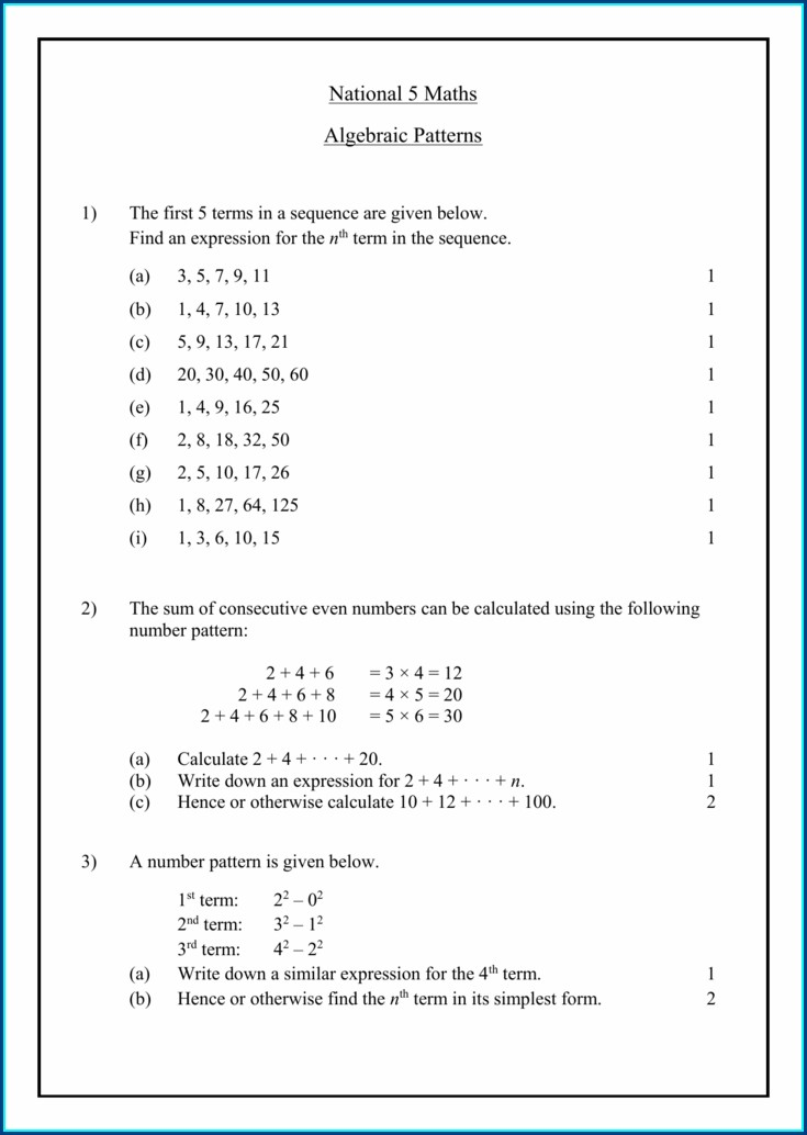 Consecutive Number Patterns Worksheet
