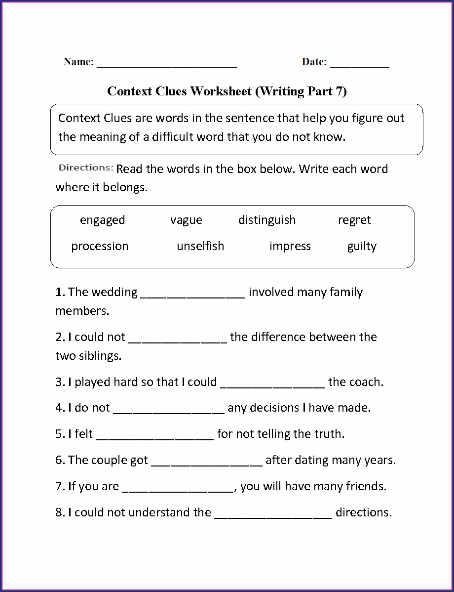 Context Clues Worksheets 3rd Grade Pdf